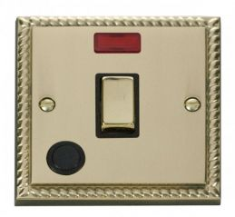 Scolmore Click Deco GCBR523BK 20A 1 Gang DP Ingot Switch With Flex Outlet And Neon - Black