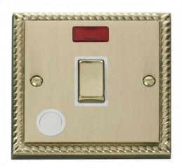 Scolmore Click Deco GCBR523WH 20A 1 Gang DP Ingot Switch With Flex Outlet And Neon - White