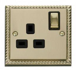 Scolmore Click Deco GCBR535BK 1 Gang 13A DP Ingot Switched Socket Outlet - Black