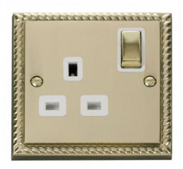 Scolmore Click Deco GCBR535WH 1 Gang 13A DP Ingot Switched Socket Outlet - White