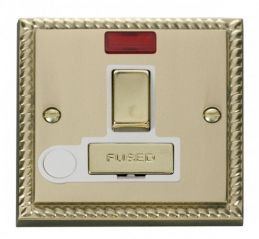 Scolmore Click Deco GCBR552WH 13A Fused Ingot Switched Connection Unit With Flex Outlet & Neon - White