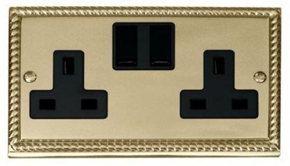 Scolmore Click Deco GCBR036BK 2 Gang 13A DP Switched Socket Outlet - Black