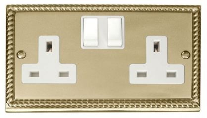 Scolmore Click Deco GCBR036WH 2 Gang 13A DP Switched Socket Outlet - White