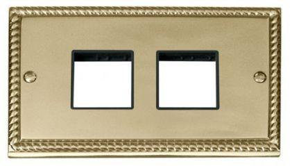 Scolmore Click Deco GCBR404BK 2 Gang Plate (2 x 2) Aperture - Black
