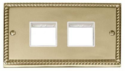 Scolmore Click Deco GCBR404WH 2 Gang Plate (2 x 2) Aperture - White