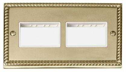 Scolmore Click Deco GCBR406WH 2 Gang Plate (3 x 3) Aperture - White