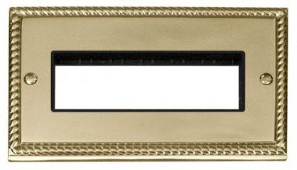 Scolmore Click Deco GCBR426BK 2 Gang Plate 6 In-Line Aperture - Black