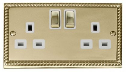 Scolmore Click Deco GCBR536WH 2 Gang 13A DP Ingot Switched Socket Outlet - White