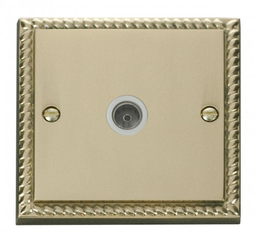 Buy GCBR Georgian Brass Click Deco TV & Sat Sockets | PEC Lights