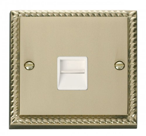Buy GCBR Georgian Brass Click Telephone Sockets | PEC Lights
