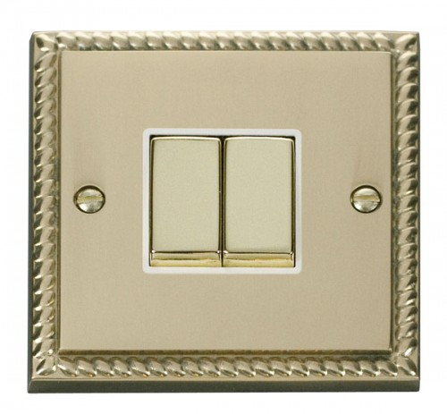Buy GCBR Georgian Brass Click Deco Rocker Switches 1 Gang | PEC Lights