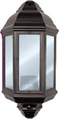 Eterna PIRHL60BK Polycarbonate Half Lantern with PIR - Black