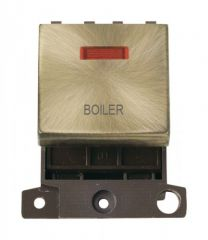 MD023ABBL 20A DP Ingot Switch With Neon Antique Brass Boiler