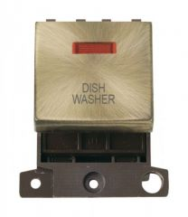 MD023ABDW 20A DP Ingot Switch With Neon Antique Brass Dishwasher