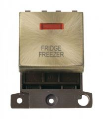 MD023ABFF 20A DP Ingot Switch With Neon Antique Brass Fridge Freezer