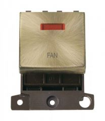 MD023ABFN 20A DP Ingot Switch With Neon Antique Brass Fan