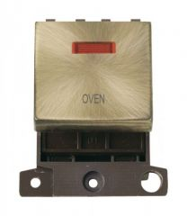 MD023ABOV 20A DP Ingot Switch With Neon Antique Brass Oven