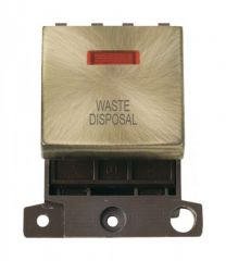 MD023ABWD 20A DP Ingot Switch With Neon Antique Brass Waste Disposal