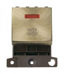 MD023ABWH 20A DP Ingot Switch With Neon Antique Brass Water Heater