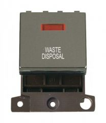 MD023BNWD 20A DP Ingot Switch With Neon Black Nickel Waste Disposal