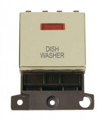 MD023BRDW 20A DP Ingot Switch With Neon Brass Dishwasher