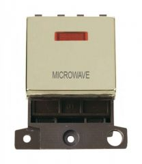 MD023BRMW 20A DP Ingot Switch With Neon Brass Microwave