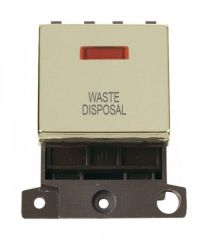 MD023BRWD 20A DP Ingot Switch With Neon Brass Waste Disposal
