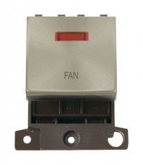 MD023BSFN 20A DP Ingot Switch With Neon Brushed Stainless Steel Fan