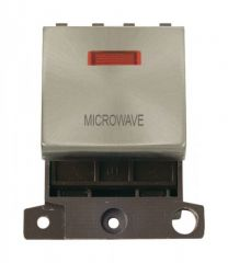 MD023BSMW 20A DP Ingot Switch With Neon Brushed Stainless Steel Microwave