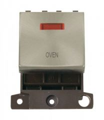 MD023BSOV 20A DP Ingot Switch With Neon Brushed Stainless Steel Oven