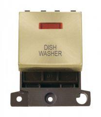 MD023SBDW 20A DP Ingot Switch With Neon Satin Brass Dishwasher