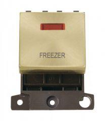MD023SBFZ 20A DP Ingot Switch With Neon Satin Brass Freezer