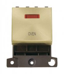 MD023SBOV 20A DP Ingot Switch With Neon Satin Brass Oven