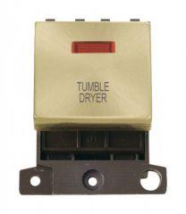MD023SBTD 20A DP Ingot Switch With Neon Satin Brass Tumble Dryer