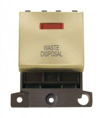 MD023SBWD 20A DP Ingot Switch With Neon Satin Brass Waste Disposal