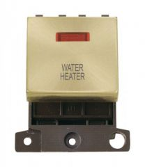 MD023SBWH 20A DP Ingot Switch With Neon Satin Brass Water Heater