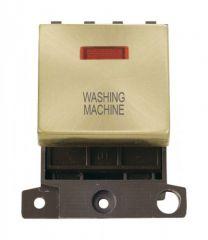 MD023SBWM 20A DP Ingot Switch With Neon Satin Brass Washing Machine