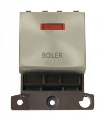 MD023SCBL 20A DP Ingot Switch With Neon Satin Chrome Boiler