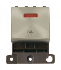 MD023SCFN 20A DP Ingot Switch With Neon Satin Chrome Fan