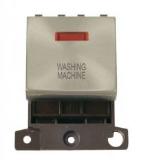 MD023SCWM 20A DP Ingot Switch With Neon - Satin Chrome - Washing Machine