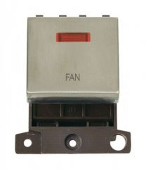 MD023SSFN 20A DP Ingot Switch With Neon - Stainless Steel - Fan