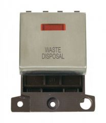 MD023SSWD 20A DP Ingot Switch With Neon - Stainless Steel - Waste Disposal
