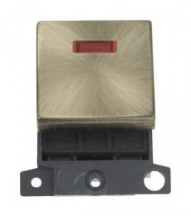 MD023AB 20A DP Ingot Switch With Neon Antique Brass