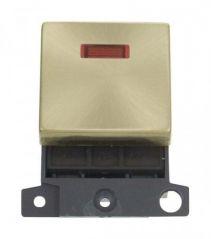 MD023SB 20A DP Ingot Switch With Neon Satin Brass