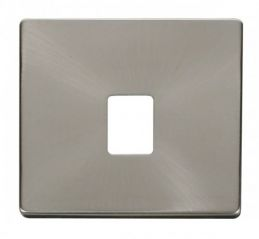 Scolmore Click Definity SCP115BS Single RJ11/RJ45 Socket Outlet Cover Plate Brushed Stainless