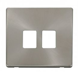 Scolmore Click Definity SCP118BS Twin RJ45 Socket Outlet Cover Plate Brushed Stainless