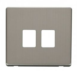 Scolmore Click Definity SCP118SS Twin RJ45 Socket Outlet Cover Plate Stainless Steel