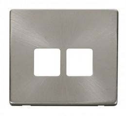 Scolmore Click Definity SCP121BS Twin Telephone Socket Cover Plate Brushed Stainless