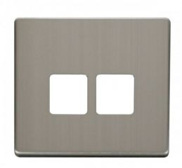 Scolmore Click Definity SCP121SS Twin Telephone Socket Cover Plate Stainless Steel