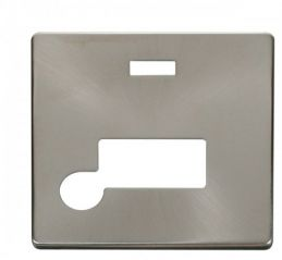 Scolmore Click Definity SCP153BS Connection Unit With Flex Outlet & Neon Cover Plate Brushed Stainless